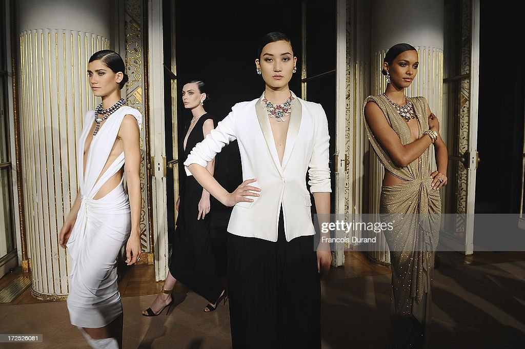 Models attend the Bulgari Diva Event at Hotel Potocki on July 2, 2013 in Paris, France.