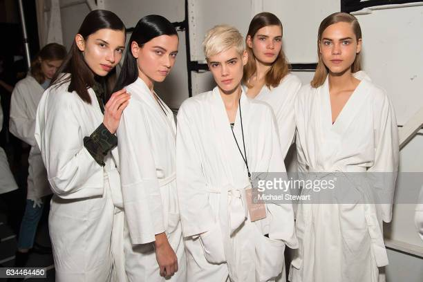 Models attend the Noon by Noor show during February 2017 New York Fashion Week The Shows at Gallery 3 Skylight Clarkson Sq on February 9 2017 in New...