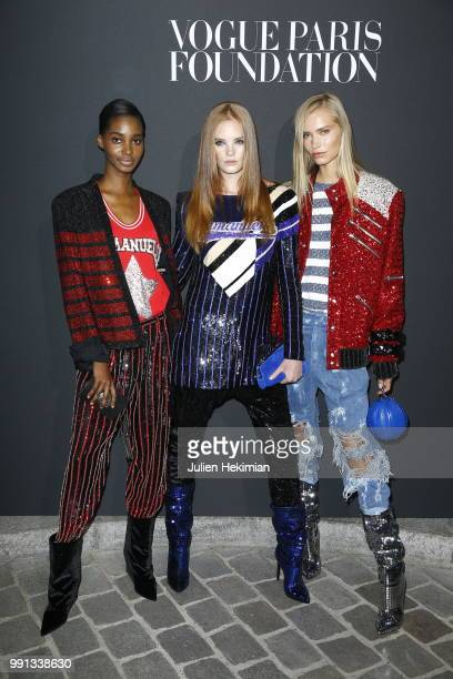 Models attend Vogue Foundation Dinner Photocall as part of Paris Fashion Week Haute Couture Fall/Winter 20182019 at Musee Galliera on July 3 2018 in...