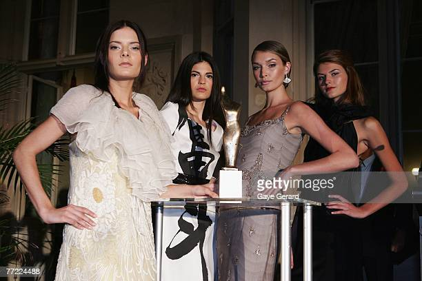 Models attends the launch of the Australian Fashion Laureate award ahead of the start of Rosemount Australian Fashion Week tomorrow at the Overseas...