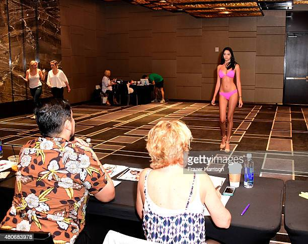 Models audition for Model Casting Call At W South Beach For SWIMMIAMI 2016 at W South Beach Hotel & Residences on July 14, 2015 in Miami Beach,...