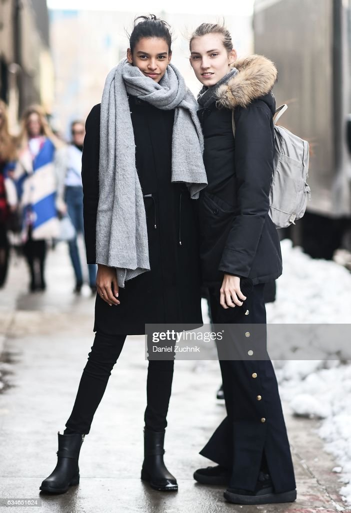 Models Austria Ulloa and Lisa Helene Kramer are seen outside of the Milly show during New York Fashion Week: Women's Fall/Winter 2017 on February 10, 2017 in New York City.