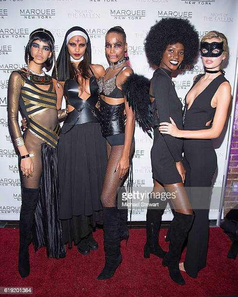 Models Austria Ulloa Lais Ribeiro Arlenis Sosa Herieth Paul and Frida Aasen attend Night of the Fallen at Marquee on October 29 2016 in New York City