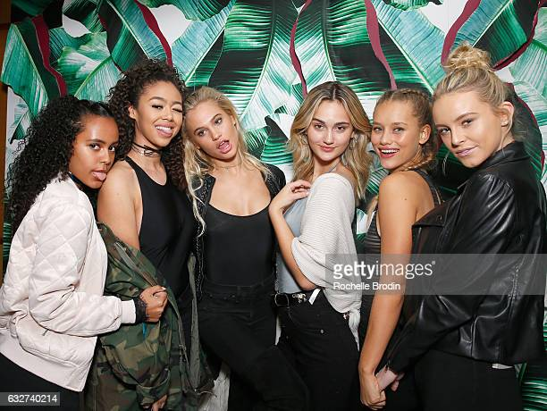 Models Ava Dash Bella Harris Meredith Mickelson Suede Brooks and Ally Johnson attend LA Hearts PacSun celebrate 2017 Spring Swimwear Collection at...