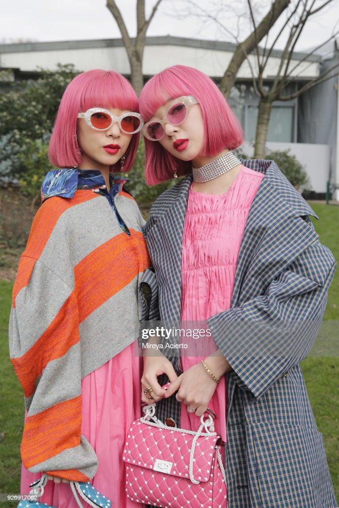 Models Aya and Ami seen during Paris Fashion Week Womenswear Fall/Winter 2018/2019 on March 3, 2018 in Paris, France.