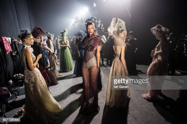 Models backstage ahead of the Amato show at Fashion Forward March 2017 held at the Dubai Design District on March 25 2017 in Dubai United Arab...