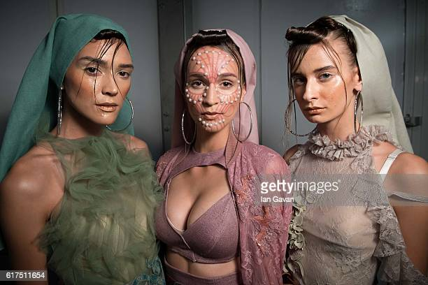 Models backstage ahead of the Amato show during Fashion Forward Spring/Summer 2017 at the Dubai Design District on October 23 2016 in Dubai United...