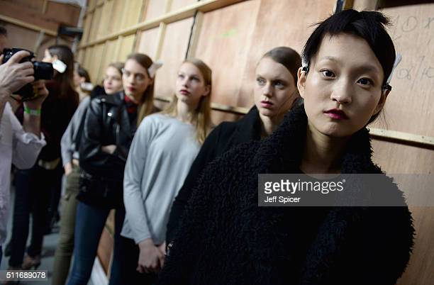 Models backstage ahead of the Antonio Berardi show during London Fashion Week Autumn/Winter 2016/17 at Brewer Street Car Park on February 22 2016 in...