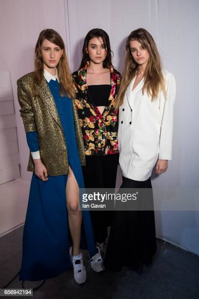 Models backstage ahead of the Arwa Al Banawi presentation at Fashion Forward March 2017 held at the Dubai Design District on March 23 2017 in Dubai...