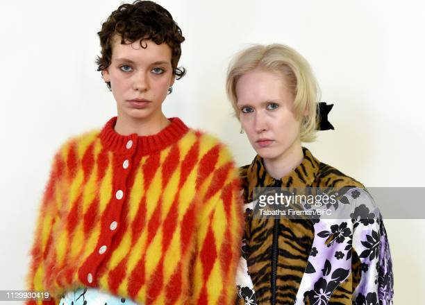 Models backstage ahead of the Ashley Williams show during London Fashion Week February 2019 on February 15 2019 in London England