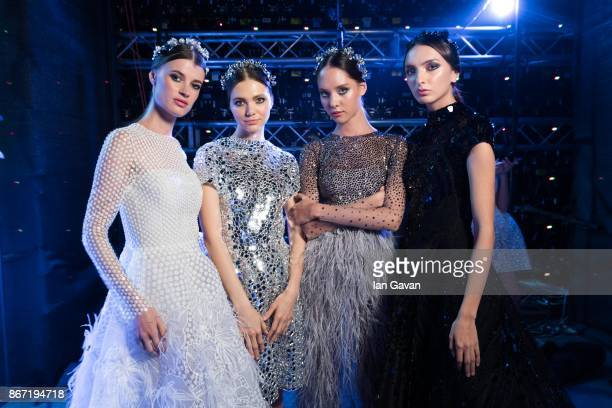 Models backstage ahead of the Atelier Zuhra show during Fashion Forward October 2017 held at the Dubai Design District on October 27 2017 in Dubai...