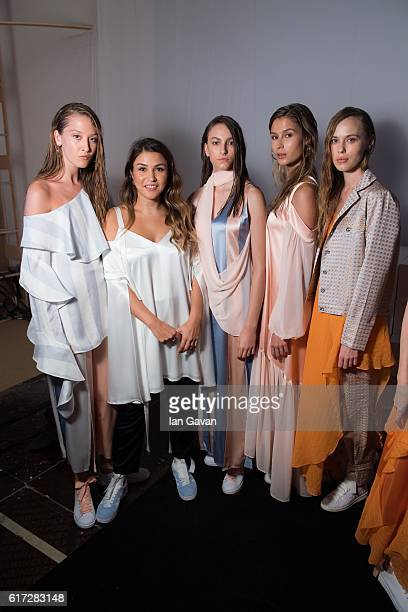 Models backstage ahead of the Bedouin presentation during Fashion Forward Spring/Summer 2017 at the Dubai Design District on October 22 2016 in Dubai...