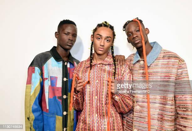 Models backstage ahead of the Bethany Williams show during London Fashion Week February 2019 at the BFC Show Space on February 19 2019 in London...