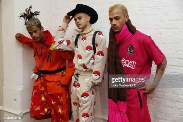 Models backstage ahead of the Bobby Abley show during London Fashion Week Men's January 2019 at the BFC Show Space on January 05 2019 in London...