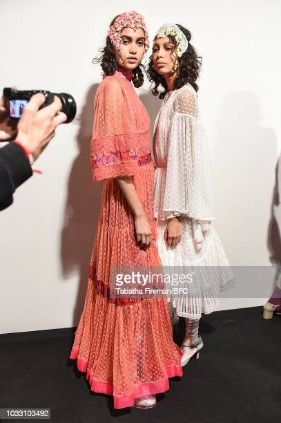 Models backstage ahead of the Bora Aksu Show during London Fashion Week September 2018 at The BFC Show Space on September 14 2018 in London England