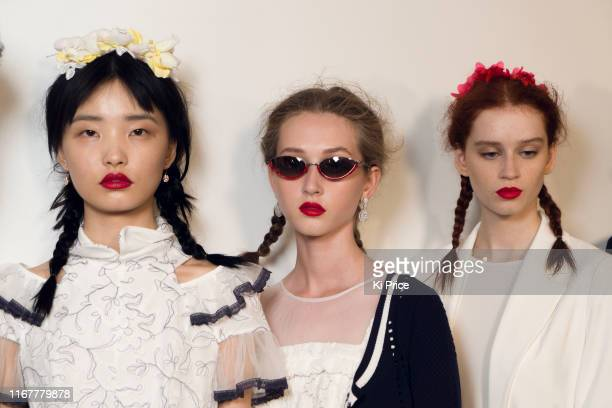 Models backstage ahead of the BORA AKSU show during London Fashion Week September 2019 at the BFC Show Space on September 13, 2019 in London, England.
