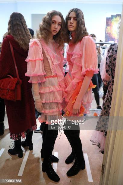 Models backstage ahead of the Bora Aksu show during London Fashion Week February 2020 on February 17, 2020 in London, England.