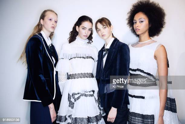 Models backstage ahead of the Bora Aksu show during London Fashion Week February 2018 at BFC Show Space on February 16, 2018 in London, England.
