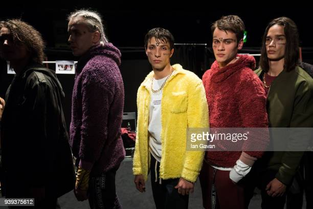 Models backstage ahead of the Brand Who show during Mercedes Benz Fashion Week Istanbul at Zorlu Performance Hall on March 28 2018 in Istanbul Turkey