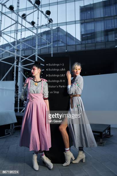 Models backstage ahead of the BY Sauce X Shoestova show at Fashion Forward October 2017 held at the Dubai Design District on October 27 2017 in Dubai...
