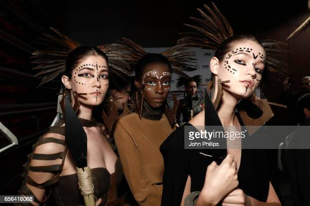 Models backstage ahead of the Ceren Ocak show during MercedesBenz Istanbul Fashion Week March 2017 at Grand Pera on March 22 2017 in Istanbul Turkey