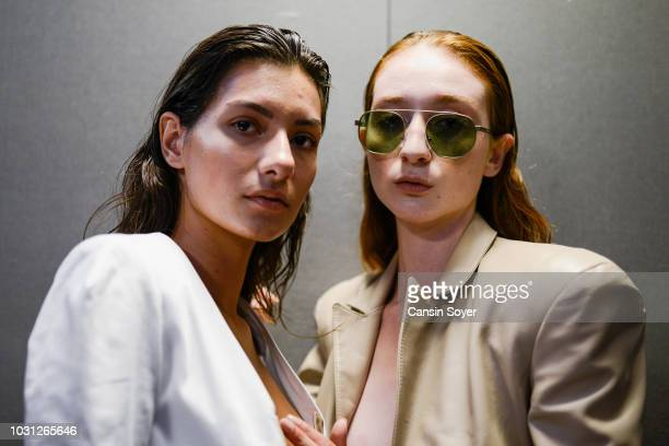 Models backstage ahead of the Ceren Ocak show during the MercedesBenz Istanbul Fashion Week at Zorlu Performance Hall on September 11 2018 in...