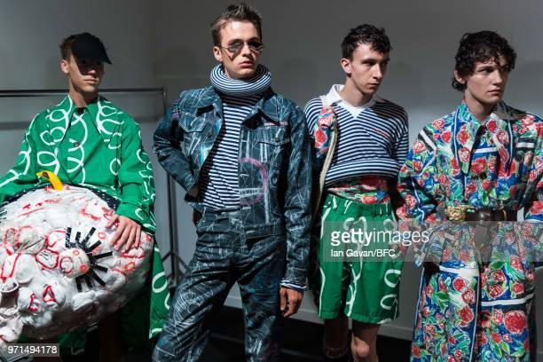Models backstage ahead of the Charles Jeffrey Loverboy show during London Fashion Week Men's June 2018 at the BFC Show Space on June 11 2018 in...
