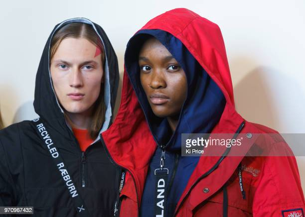 Models backstage ahead of the Christopher Raeburn show during London Fashion Week Men's June 2018 at the BFC Show Space on June 10 2018 in London...