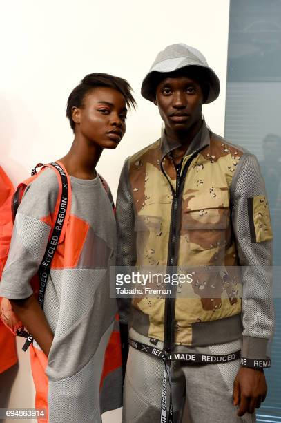 Models backstage ahead of the Christopher Raeburn show during the London Fashion Week Men's June 2017 collections on June 11 2017 in London England