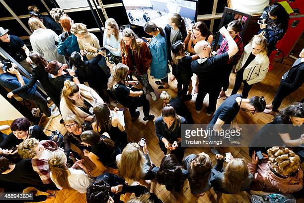 Models backstage ahead of the DAKS show during London Fashion Week Spring/Summer 2016 on September 18 2015 in London England