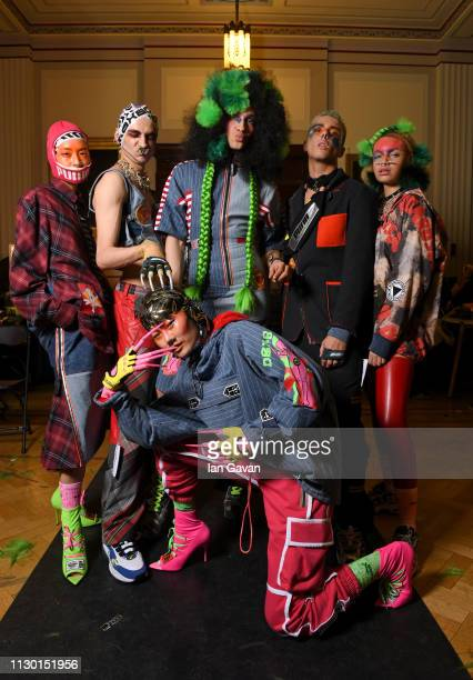 Models backstage ahead of the DB Berdan show during London Fashion Week February 2019 on February 16 2019 in London England