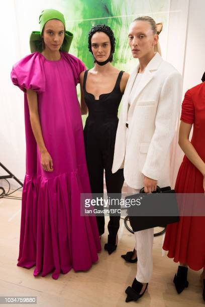 Models backstage ahead of the Emilia Wickstead show during London Fashion Week September 2018 on September 17 2018 in London England