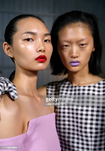 Models backstage ahead of the Emilia Wickstead show during London Fashion Week September 2019 at the Royal Albert Hall on September 15 2019 in London...