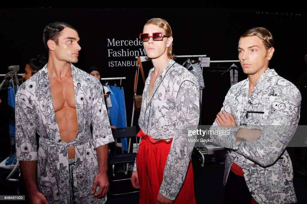 Models backstage ahead of the Emre Erdemoglu show during Mercedes-Benz Istanbul Fashion Week September 2017 at Zorlu Center on September 13, 2017 in Istanbul, Turkey.