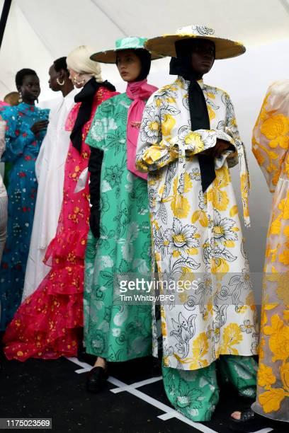 Models backstage ahead of the Erdem show during London Fashion Week September 2019 on September 16, 2019 in London, England.