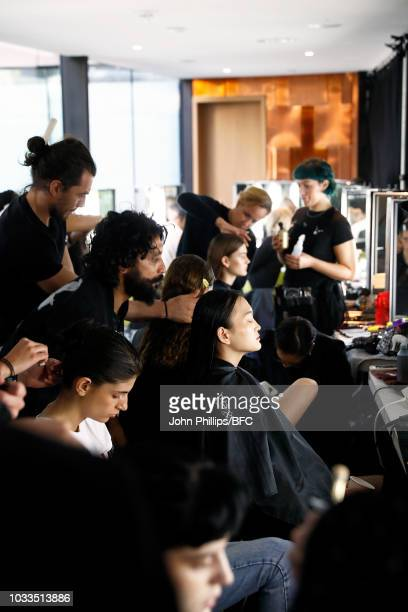 Models backstage ahead of the Eudon Choi show during London Fashion Week September 2018 at the Garden Museum on September 15 2018 in London England