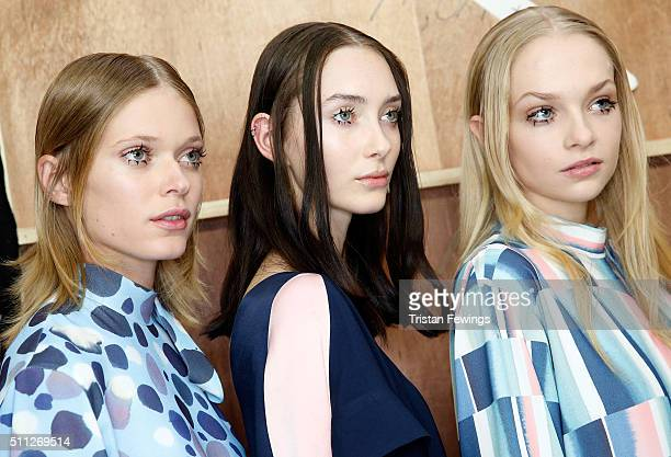 Models backstage ahead of the Eudon Choi show during London Fashion Week Autumn/Winter 2016/17 at Brewer Street Car Park on February 19 2016 in...