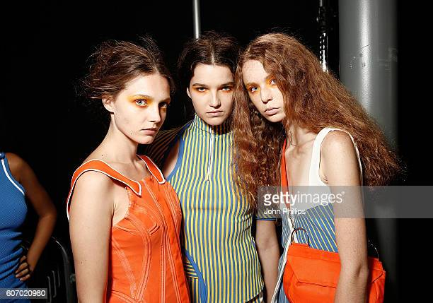 Models backstage ahead of the Fashion East runway show during London Fashion Week Spring/Summer collections 2017 on September 17 2016 in London...