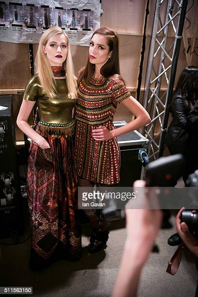 Models backstage ahead of the House of Mea show at Fashion Scout during London Fashion Week Autumn/Winter 2016/17 at Freemasons' Hall on February 21...