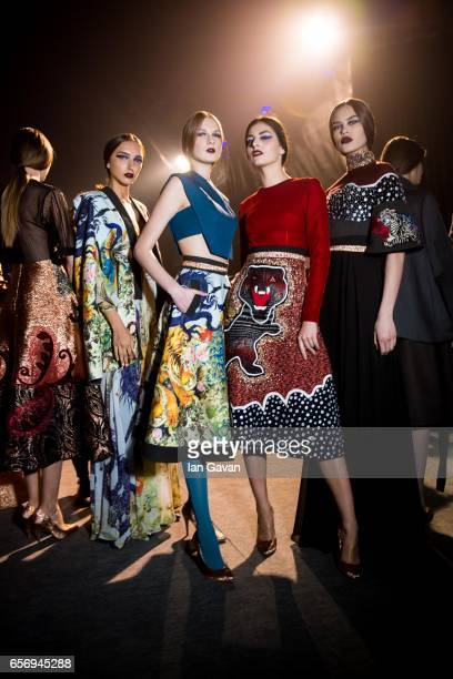 Models backstage ahead of the Hussein Bazaza show at Fashion Forward March 2017 held at the Dubai Design District on March 23 2017 in Dubai United...