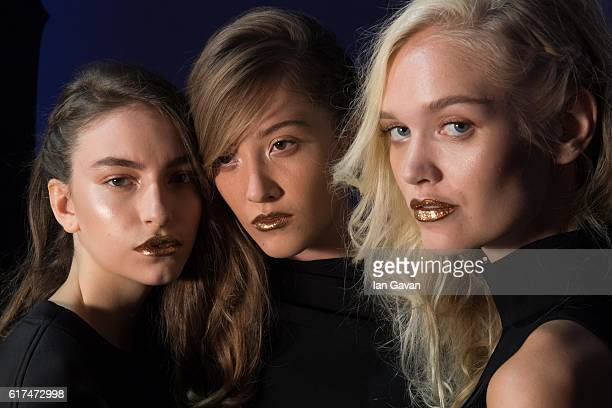 Models backstage ahead of the HZ by Hissa Zainal presentation during Fashion Forward Spring/Summer 2017 at the Dubai Design District on October 23...