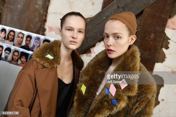 Models backstage ahead of the Isa Arfen presentation during the London Fashion Week February 2017 collections on February 21 2017 in London England