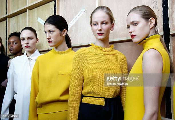 Models backstage ahead of the J JS Lee show during London Fashion Week Autumn/Winter 2016/17 at Brewer Street Car Park on February 19 2016 in London...