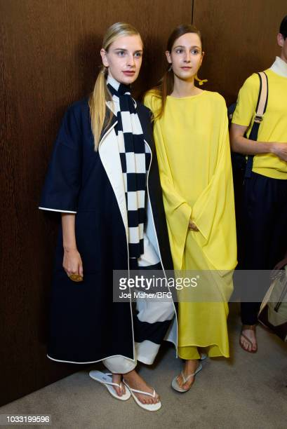 Models backstage ahead of the Johnstons of Elgin presentation during London Fashion Week September 2018 at Waldorf Hotel on September 14 2018 in...