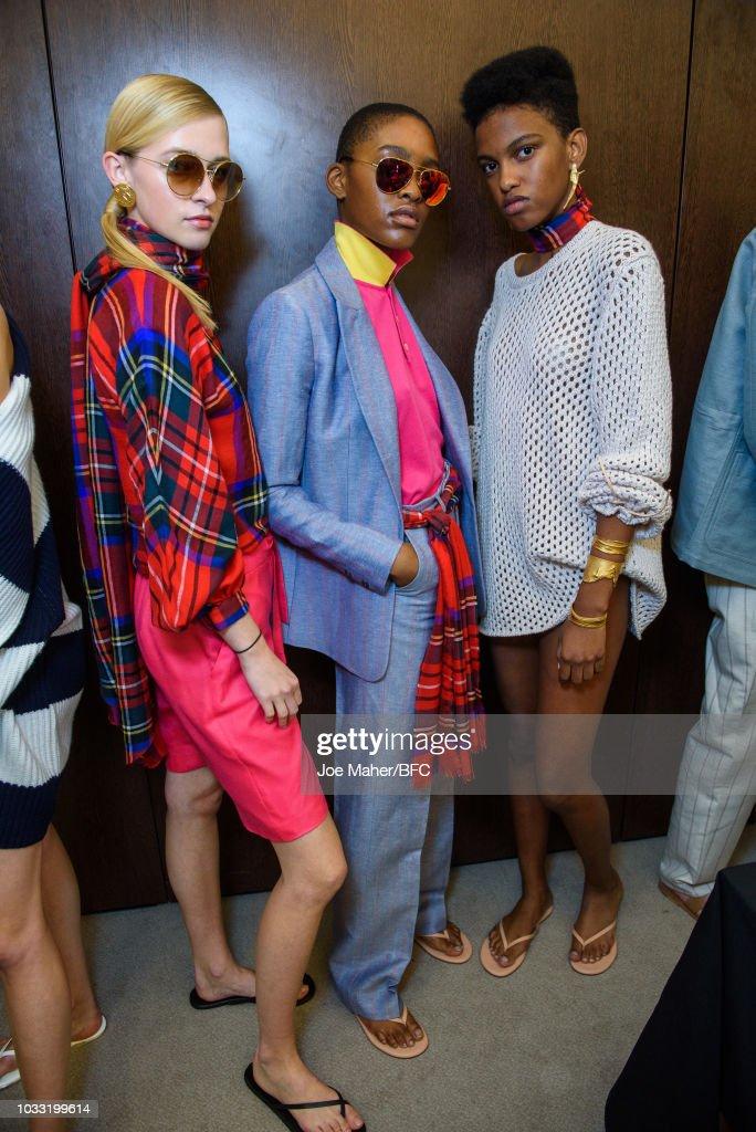 Models backstage ahead of the Johnstons of Elgin presentation during London Fashion Week September 2018 at Waldorf Hotel on September 14, 2018 in London, England.