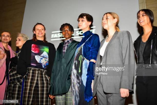 Models backstage ahead of the Jolin Wu show during London Fashion Week February 2019 at the Freemasons Hall on February 16 2019 in London England