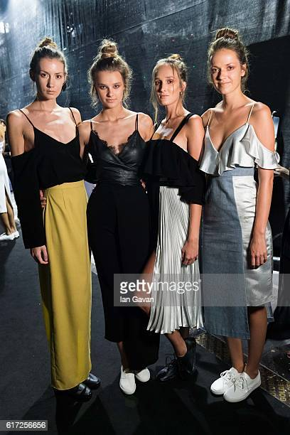 Models backstage ahead of the Lama Jouni show during Fashion Forward Spring/Summer 2017 at the Dubai Design District on October 22 2016 in Dubai...