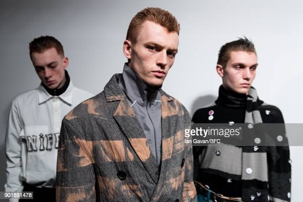 Models backstage ahead of the Liam Hodges show during London Fashion Week Men's January 2018 at BFC Show Space on January 6 2018 in London England