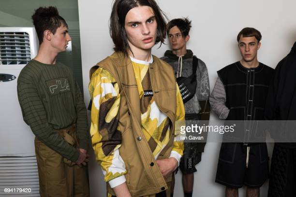 Models backstage ahead of the Liam Hodges show during the London Fashion Week Men's June 2017 collections on June 9, 2017 in London, England.