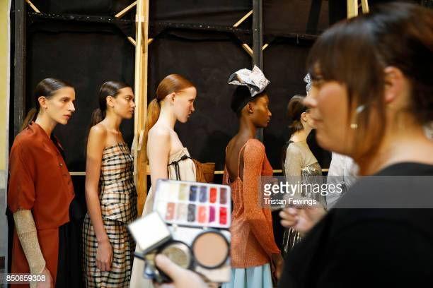 Models backstage ahead of the Lucio Vanotti show during Milan Fashion Week Spring/Summer 2018on September 21 2017 in Milan Italy